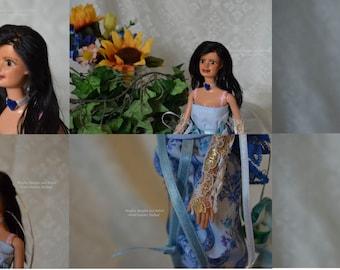 brown eyed Barbie repaint, reroot, repairs, faceup by Bingles, Bangles and Babies Artist Kimiko Stallard
