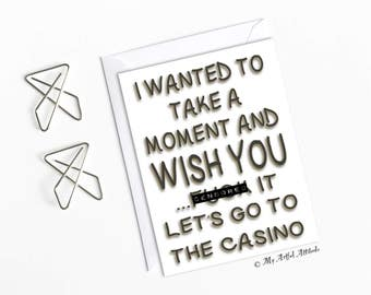Funny Boyfriend Birthday Card, Girlfriend Casino Party Night, Gifts For Gamblers, Him Or Her