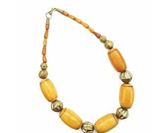 Collar africano madera collar / tribales collar vendimia declaración collar / collar Boho / grueso madera collar