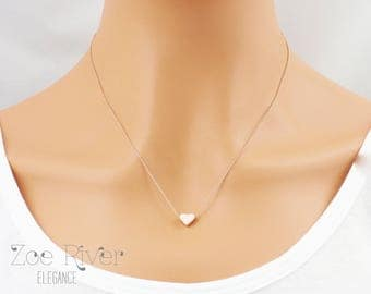 Choose rose gold, silver or gold heart personalized initial necklace. Tiny rose gold necklace. Elegant and dainty necklace