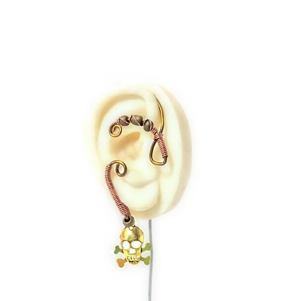 Copper Wire Skull Ear Wrap - Right Ear