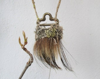 Necklace with butterfly, Tribal Wrapped Necklace,   Braided flax twine necklace,  tribal amulet, fur boar necklace, linen wraped necklace