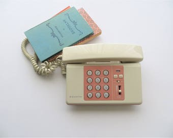90s Sanyo Telephone Push Button Phone, Two Tone Coral Pink and Beige, Hipster Teen Girl Room Decor