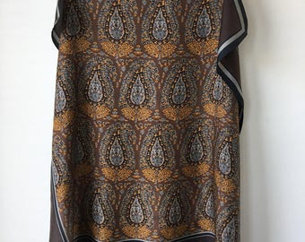 Anne Klein silk scarf paisley print brown gray bronze floaty rolled hem rectangular neck scarf headscarf sophisticated shoulder shawl