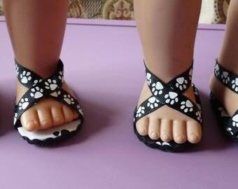 zapatos de la muñeca de 18 pulgadas y accesorios, perro impresión, gato a Polk impresión, lavanda un puntos