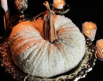 Pumpkins FALL WEDDING CENTERPIECE Halloween Wedding White Pumpkins Bridal Baby Shower Pumpkin Centerpiece Elegant Halloween Goth Wedding