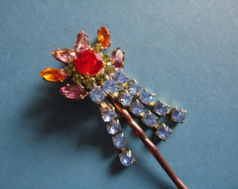 Vintage Czechoslovakian Crystal Glass Topped Hair Grip/Pin/Slide - 1960s - Ideal Wedding/Prom - Red, Pale Blue, Amber, Purple, Lilac, Green