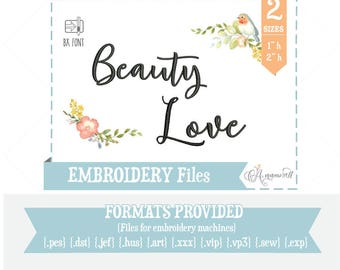 Beauty Love Calligraphic Script Alphabet / BX Font / Embroidery Font Files for Embroidery Machine/ BX font / Calligraphic Embroidery