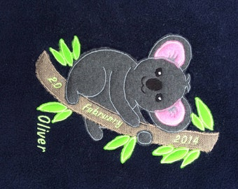 Koala blanket with baby name and date of birth