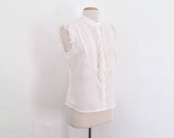 ruffle white blouse sleeveless white linen top women summer tops ruffle blouse linen shirt cream button up