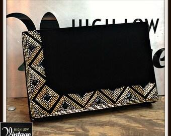 Vintage Black Velvet Gold Beaded Handbag Bag Purse Clutch FREE SHIPPING