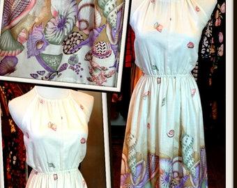 Vintage White Cotton Ocean Print Halter Dress FREE SHIPPING