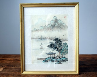 Framed Chinese Mid Century 1950's Silk Water Colour Ink Painting Turquoise Gold w/Makers Mark