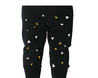 Black baby leggings, geometric children trousers, unisex kids apparel, hipster baby clothes, funky pants