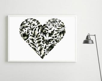 Black and White Art, Floral Painting, Minimalist Nursery Art, Modern Floral Heart Painting, Hand Painted Scandinavian Art, Nordic Art