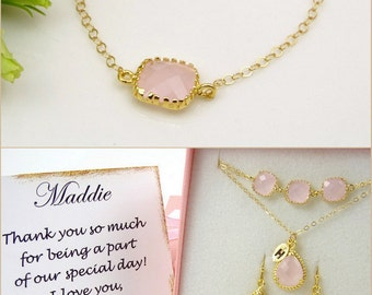 Pink Necklace Blush Wedding Blush Necklace Unique Bridesmaid Gift Idea Bridal Shower Gift for Bridesmaids Gift for Maid of Honor Gift