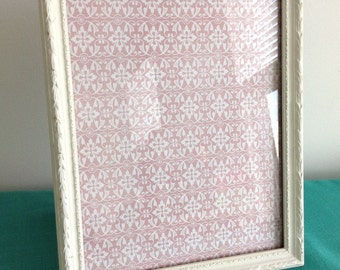 Shabby Chic Antique White Picture Frame Wall or Table with Pink Decorative Paper