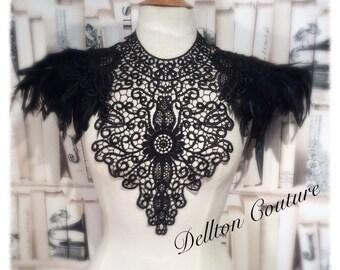 Black Lace And Feather Black Collar Necklace Neckpiece Victorian Steampunk tattoo
