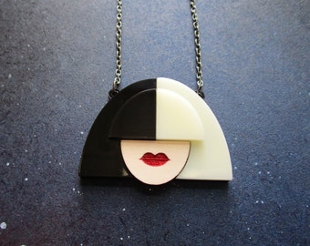 SIA Black and White Wig Pendant Necklace with Red Lips Fan Statement Wear