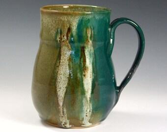Blue Green Coffee Mug- 16 oz aquamarine mug-  handmade blue green ceramic cup.