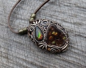 SHIPPING INCLUDED Mexican Fire Agate and Canadian Ammolite Pendant