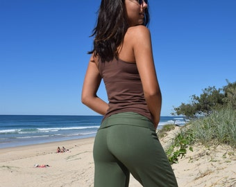 Yoga Pants- Olive Green- Wide Waistband- Organic Bamboo Cotton Lycra- Eco friendly