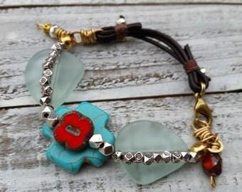 Bohemian Turquoise Magnesite Cross Matte Glass Leather Bracelet