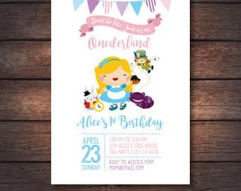Alice in Onederland invitation, Alice in wonderland birthday party, Digital Invitations, 2 options