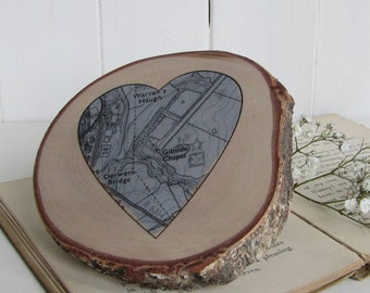 Map / Personalised Silver Heart Shaped Map Printed on SilverBirch Slice /25th Silver Wedding Anniversary Gift / Wooden Location Map Keepsake