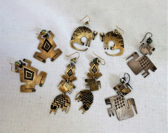 Vintage Signed Metal Earrings