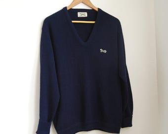 Men's vintage navy blue preppy fox sweater - size medium