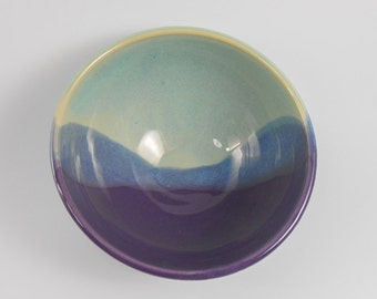 Pottery serving bowl - ceramic serving dish - landscape bowl - purple green bowl - pottery bowl - ceramic bowl B111