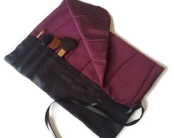 Makeup Brush Roll Black and Purple Cosmetic Brush Roll