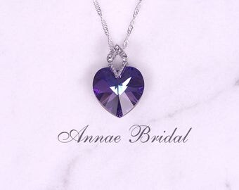 """Purple crystal heart necklace, bridal jewelry, wedding, Swarovski, """"Amore"""" lg heart necklace in Heliotrope color"""