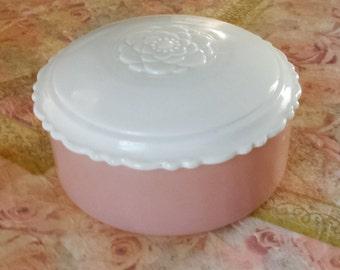 Vintage pale pink powder/trinket box