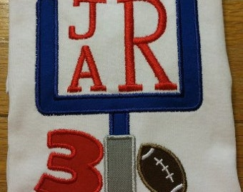 Football Birthday Embroidered Applique Shirt