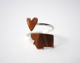 Montana Twist Place Ring (Sterling Silver & Copper Place State Love Map Ring)
