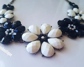 Statement Flower Necklace Floral Necklace Proms Weddings Bridesmaids Chunky Bib Necklace Pink Necklace Indy 500 Black White Jewelry
