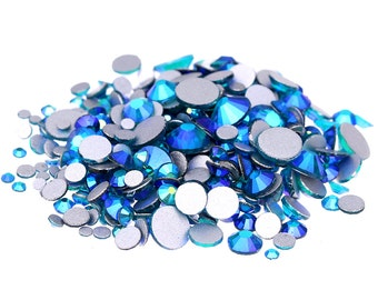 AB Teal --  5000 pcs Assorted 8 Sizes Crystal Glass Rhinestones Flatback High Quality no hotfix  Wholesale Pack Lot