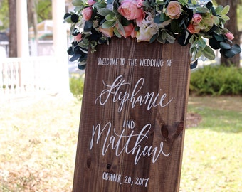 Personalized Wedding Welcome Sign with Names, Wooden Wedding Sign, Welcome to Our Wedding Sign, Rustic Wedding Decor