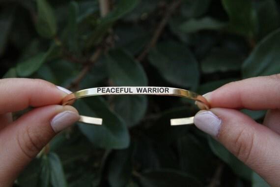 Peaceful warrior bracelet. Yoga Jewelry. Quote jewelry. Thin cuff bracelet.