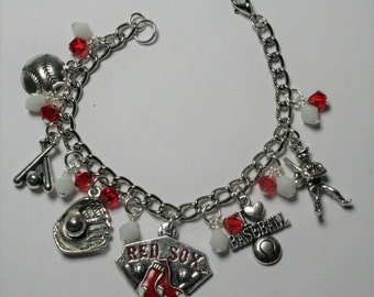 Boston Red Sox Bracelet, Red Sox Charm Bracelet, Boston Red Sox Baseball Jewelry, Sports Jewelry,  Red Sox Fan Jewelry, Gifts For Her