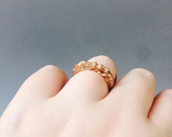 Rough Rose Gold Stacking Ring Unique Rustic Wedding Band Simple Artisan Sterling