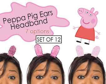 Peppa Pig Ears Headband Peppa Pig Party Favor PARTY PACK of 12 Headbands