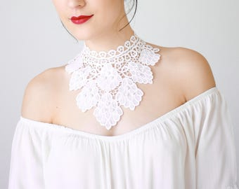 White Lace Necklace Statement Necklace Bib Necklace Pearl Necklace Bridal Necklace Wedding Necklace Girlfriend Gift For Her Boho / CARDEA