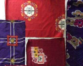 Lot of Japanese Silk Ikat Fabric Bits