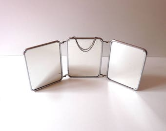 Vintage Barber Mirror Trifold Mirror Triptych Mirror Bathroom Mirror Home Decor Bathroom Mirror