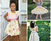 New! Buy 2 Get 1 Free, Clementine Vintage Style Girls Dress w/ Extended Flutter Sleeves PDF Sewing Pattern 6-12m to 10