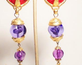Robert Rose Maltese Cross Long Dangle Clip Earrings Red Blue Purple