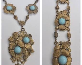 Antique Art Nouveau Necklace and Bracelet Set -- Goldtone Metal with Aqua Blue Art Glass Accents